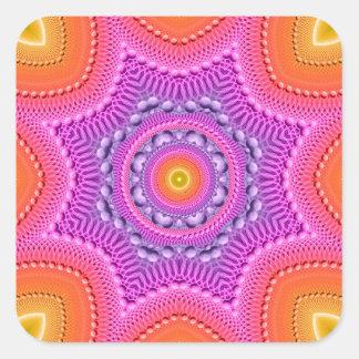 Mandala de la estrella del arco iris pegatina cuadrada