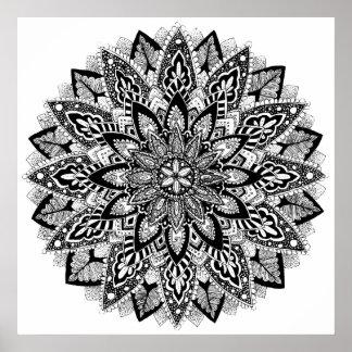 Mandala de la flor blanco y negro póster
