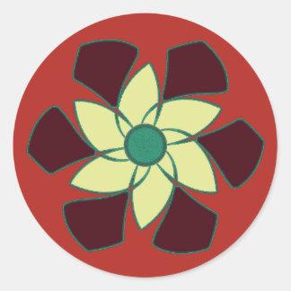 Mandala de la flor de la granada pegatina redonda