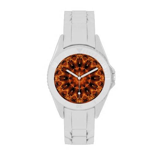 Mandala de la flor del fuego, llama ambarina abstr relojes de pulsera