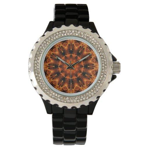 Mandala de la flor del fuego, llama ambarina reloj