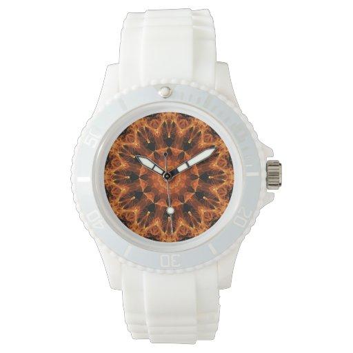 Mandala de la flor del fuego, llama ambarina relojes de pulsera