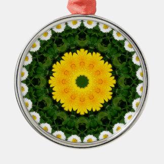 Mandala de la flor, margaritas adorno navideño redondo de metal