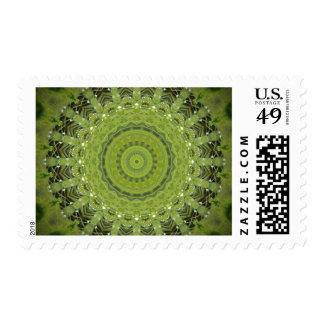 Mandala de la hierba verde timbre postal