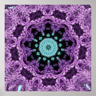 Mandala de la hoja de la lavanda y de la turquesa póster