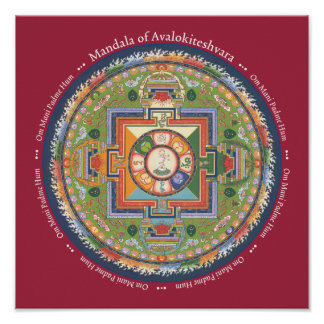 Mandala de la IMPRESIÓN de Chenrezig - con mantra Posters