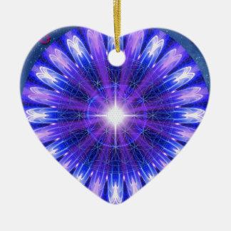 Mandala de la intuición adorno navideño de cerámica en forma de corazón
