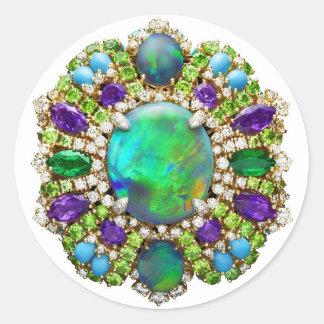 Mandala de la joyería pegatina redonda