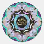 Mandala de la luna pegatina redonda