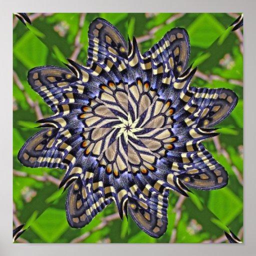 Mandala de la mariposa de Swallowtail - impresión Poster