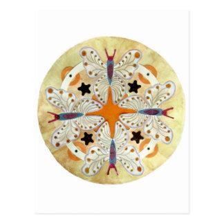Mandala de la mariposa, técnicas mixtas tarjeta postal