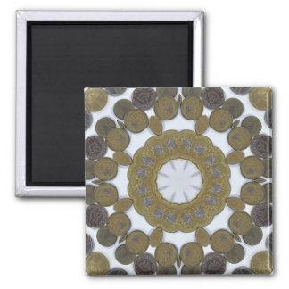 Mandala de la moneda imán cuadrado