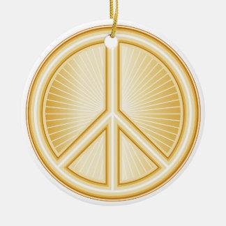 Mandala de la paz adorno navideño redondo de cerámica