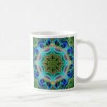 Mandala de la pluma del pavo real tazas de café