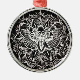 Mandala de la polilla adorno navideño redondo de metal
