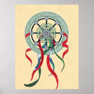Mandala de la rueda con la impresión del poster de