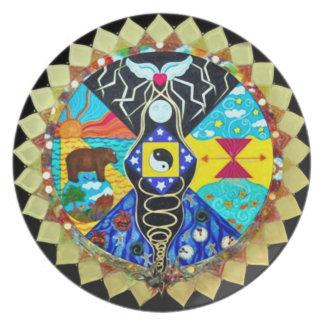 Mandala de la rueda de la medicina platos
