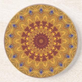 Mandala de la semilla de mostaza del vintage posavasos diseño