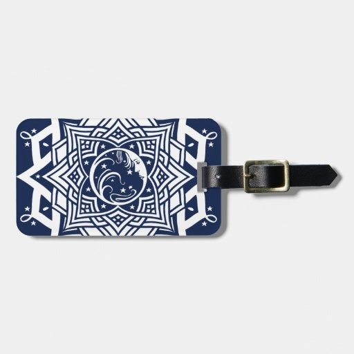 Mandala de la señora luna azul etiquetas de equipaje
