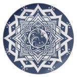 Mandala de la señora luna azul plato