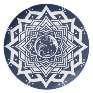Mandala de la señora luna azul platos de comidas
