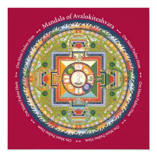 """Mandala de la TARJETA de Avalokiteshvara - con el Invitación 5.25"""" X 5.25"""""""