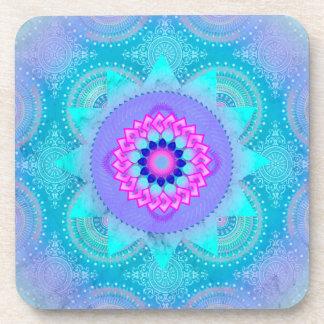 Mandala de la turquesa de la floración de Lotus Posavasos De Bebidas