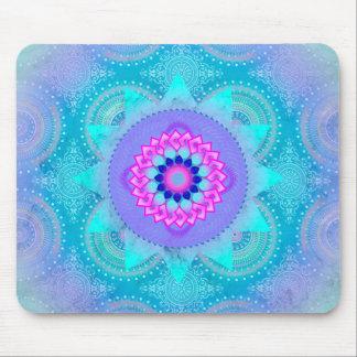 Mandala de la turquesa de la floración de Lotus Tapetes De Ratones