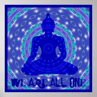 Mandala de la unicidad con Buda Póster