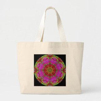 Mandala de la ventana color de rosa A42 Bolsa Tela Grande