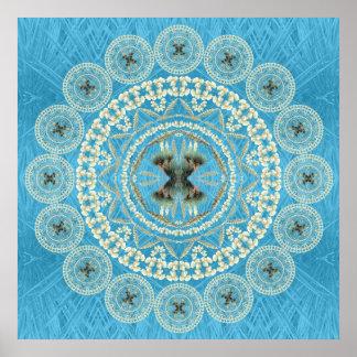 Mandala de la yuca en fondo azul de la fronda impresiones