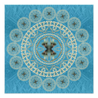 Mandala de la yuca en fondo azul de la fronda póster
