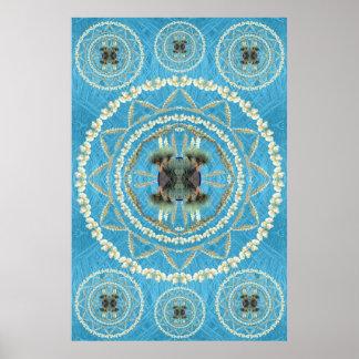 Mandala de la yuca en modelo azul de la fronda posters