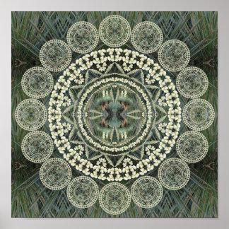 Mandala de la yuca en modelo verde de la fronda posters