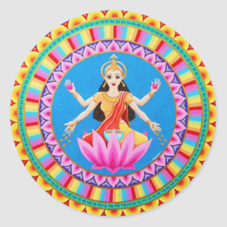 Mandala de Lakshmi de la diosa Pegatina Redonda