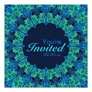 Mandala de las gemas del verde azul invitación 13,3 cm x 13,3cm