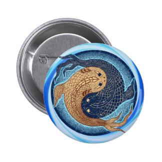 Mandala de los pescados de Yin Yang Koi Pin Redondo De 2 Pulgadas