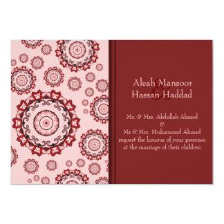 Mandala de Lotus (alheña) (rojo) (boda) Invitacion Personal