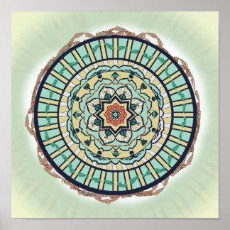 Mandala de Lotus de la cinta en turquesa y tierra Poster