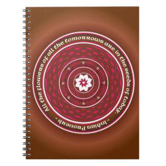 Mandala de Lotus del Celtic en rosa y Brown Spiral Notebooks