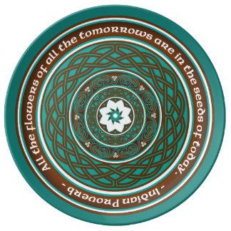 Mandala de Lotus del Celtic Plato De Cerámica