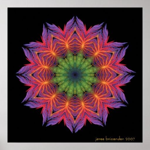 Mandala de Lotus del fuego Poster
