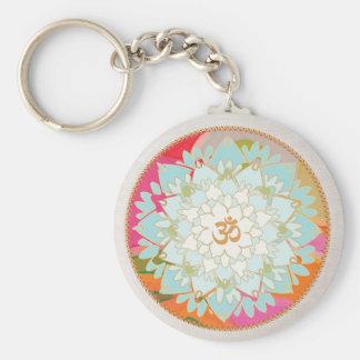 Mandala de Lotus del símbolo de OM Llavero Redondo Tipo Pin