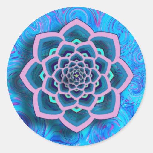 Mandala de Lotus en rosa y pegatinas de la Pegatina Redonda