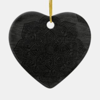 Mandala de madera adorno navideño de cerámica en forma de corazón