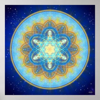Mandala de Merkaba de la luna Póster
