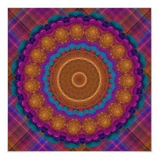 Mandala de neón radiante del caleidoscopio de la invitación 13,3 cm x 13,3cm