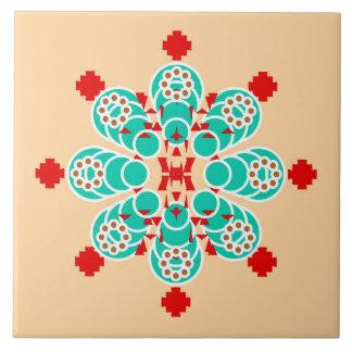 Mandala de ocho puntos - turquesa y melocotón azulejo cuadrado grande