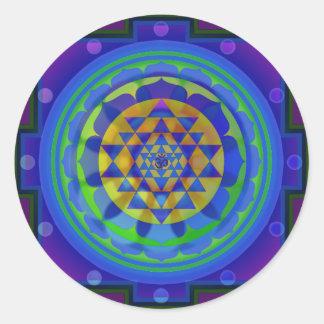 Mandala de OM (AUM) Yantra Pegatina Redonda