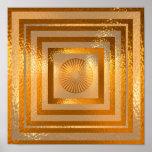 Mandala de oro de Sun - respetos calientes Póster
